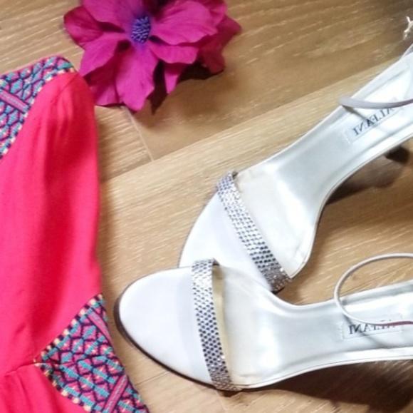 3e0ede7c5 Alfani Shoes | Beautiful White Satin Rhinestone Heels | Poshmark